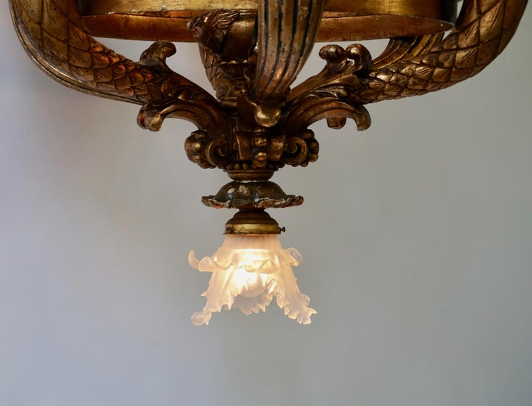 Wonderful Italian Giltwood Cherubs Putti and Painted Fruit Chandelier For Sale 13