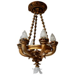 Wonderful Italian Giltwood Cherubs Putti and Painted Fruit Torch Chandelier
