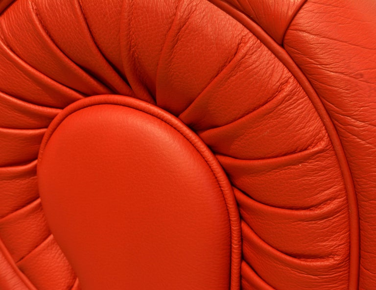 Wonderful Italian Red Leather Chesterfield Sofa in the Style of Poltrona Frau For Sale 8