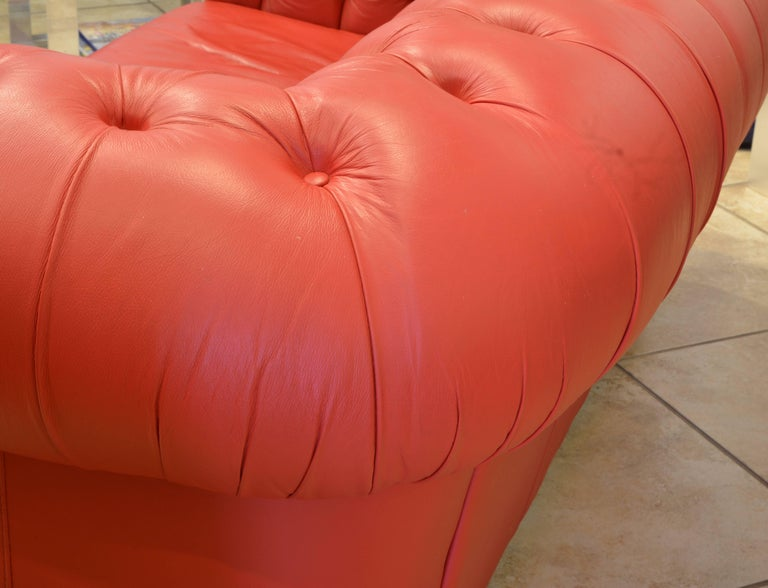 Wonderful Italian Red Leather Chesterfield Sofa in the Style of Poltrona Frau For Sale 2
