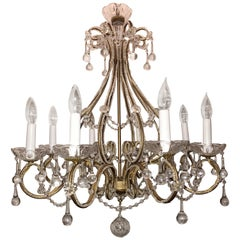 Wonderful Italian Venetian Vintage Beaded Crystal Chandelier Eight-Light Fixture