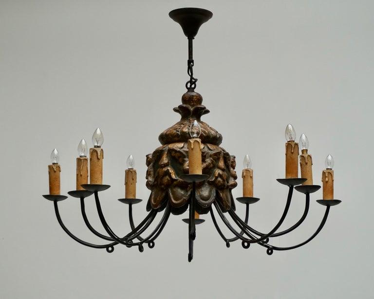 Plaster Wonderful Italian Wrought Iron and Wood Cherubs Putti Violin Chandelier Fixture  For Sale