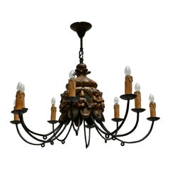 Wonderful Italian Wrought Iron and Wood Cherubs Putti Violin Chandelier Fixture