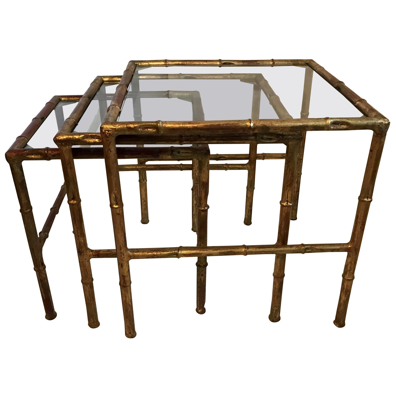 Wonderful Jansen Set Three Faux Bamboo Gilt Metal Nesting Stacking Baguès Tables