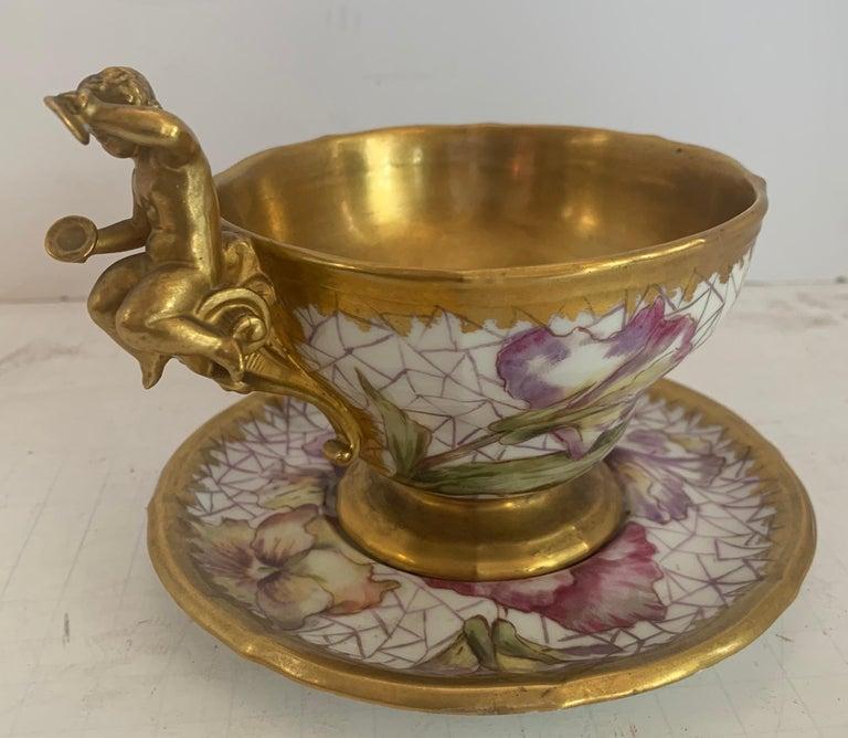 Belle Époque Wonderful KPM Hand Painted Porcelain German Cup Saucer Set Cherub Putti Flower For Sale