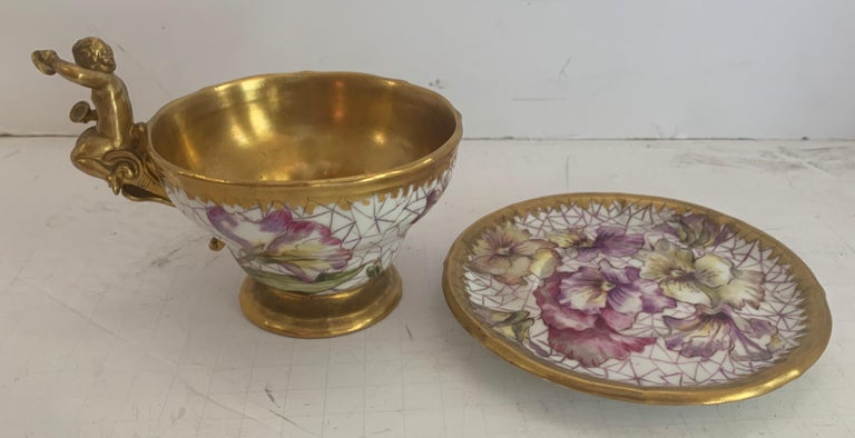 Wonderful KPM Hand Painted Porcelain German Cup Saucer Set Cherub Putti Flower In Good Condition For Sale In Roslyn, NY