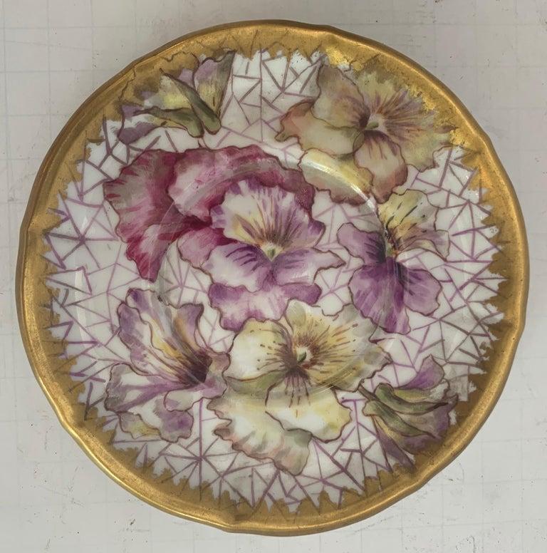 20th Century Wonderful KPM Hand Painted Porcelain German Cup Saucer Set Cherub Putti Flower For Sale