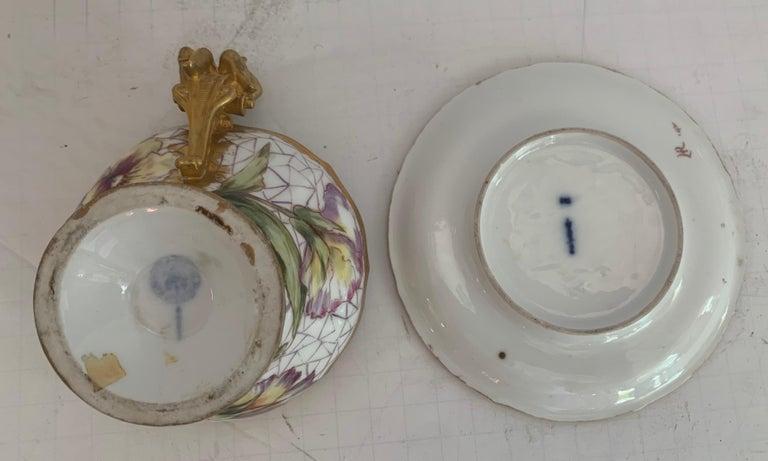 Wonderful KPM Hand Painted Porcelain German Cup Saucer Set Cherub Putti Flower For Sale 1