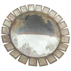 "Wonderful Large 47"" Round Antique Convex Industrial Rustic Modern Panel Mirror"