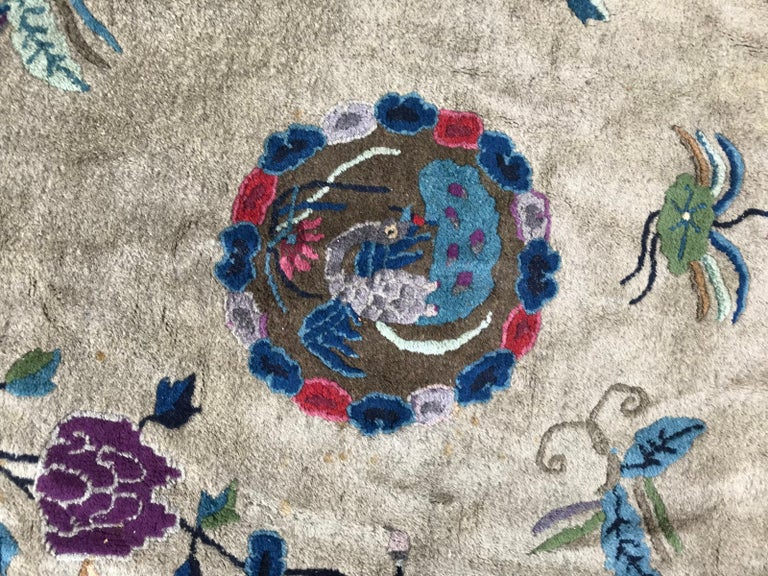 Chinoiserie Wonderful Large Antique Chinese Dragon Rug For Sale