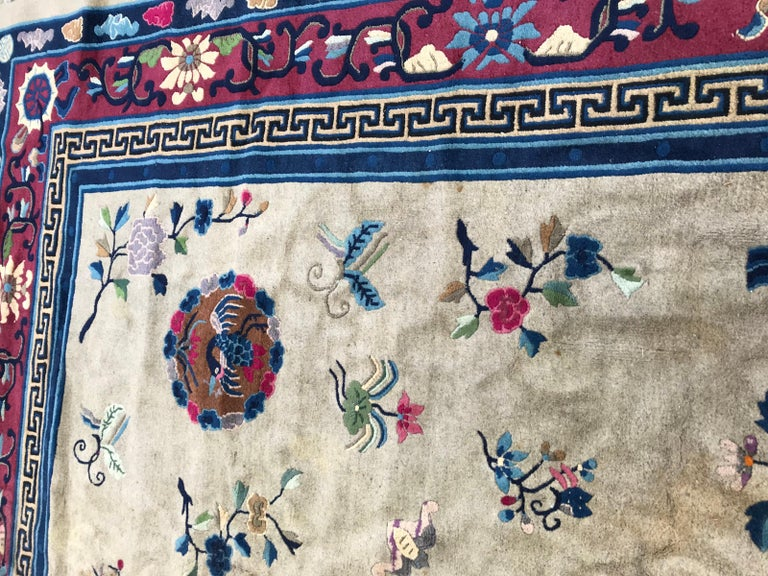 Hand-Knotted Wonderful Large Antique Chinese Dragon Rug For Sale