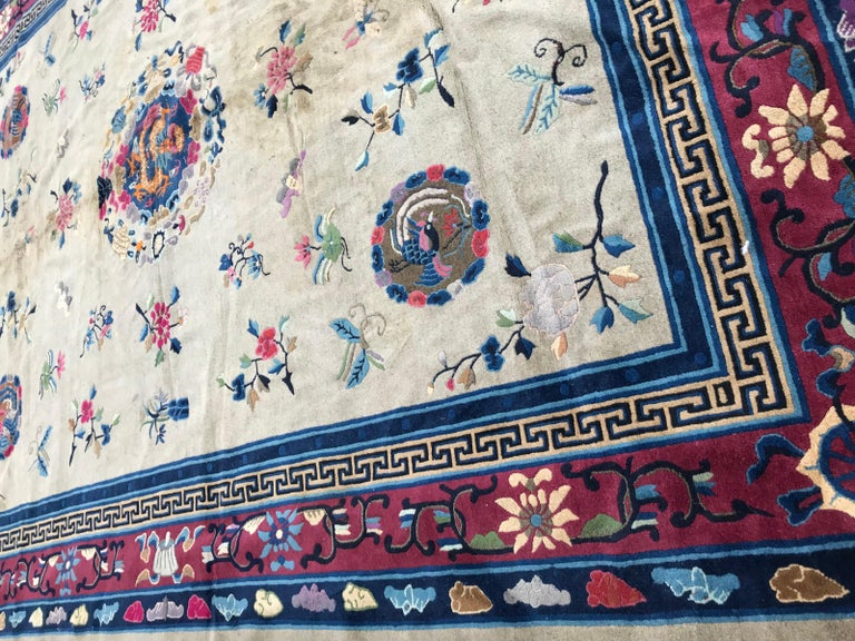 20th Century Wonderful Large Antique Chinese Dragon Rug For Sale
