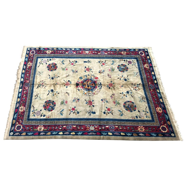 Wonderful Large Antique Chinese Dragon Rug For Sale
