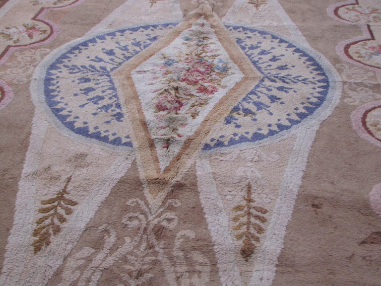 Wool Wonderful Large Antique French Savonnerie Carpet For Sale