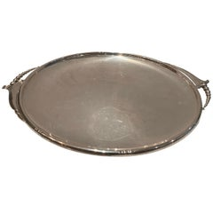 Wonderful Large Art Deco Blossom Wallace Sterling Silver Round Tray Platter