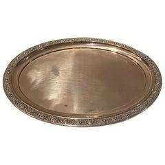 Wonderful Large Art Deco Oval European 800 Sterling Silver Tray Platter
