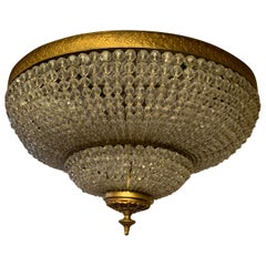 Wonderful Large Beaded Crystal Basket Flush Mount Brass Two-Tier Light Fixture