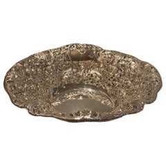 Wonderful Large Belle Époque 800 Sterling Silver Oval Centerpiece Flower Bowl
