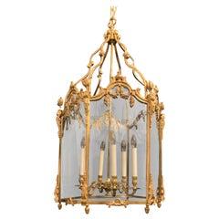 Wonderful Large French Bronze Urn Filigree Swag Louis XV Lantern Chandelier