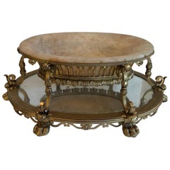 Wonderful Large French Gilt Iron Marble Inset Caldwell Centerpiece Jardinière