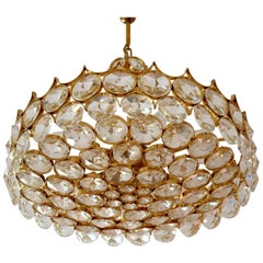 Schöner Großer Vergoldeter Messing und Glas Kronleuchter von Palwa
