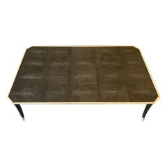 Wonderful Large Mid-Century Modern Shagreen Wood Trim Coffee Cocktail Table