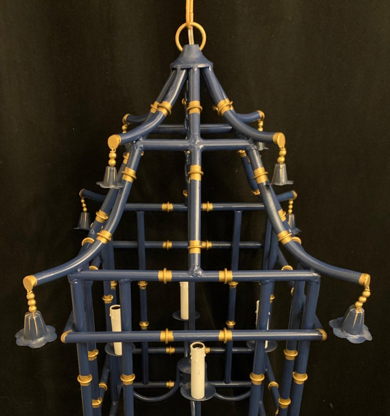A wonderful large navy blue gold gilt pagoda bamboo chinoiserie lantern 4-light fixtures *Two available   Each sold separately.