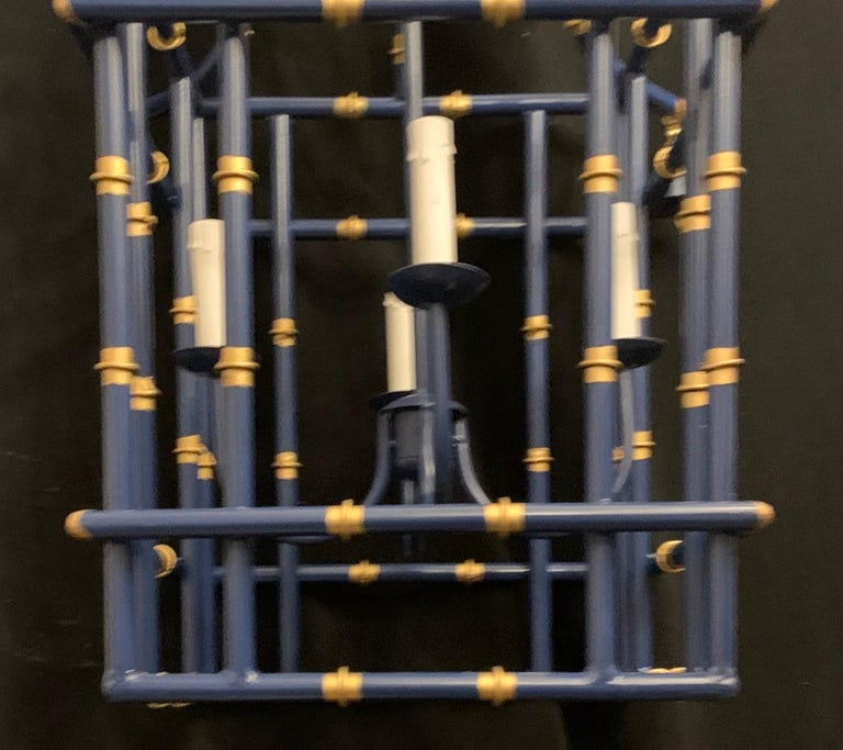 Painted Wonderful Large Navy Blue Gold Gilt Pagoda Bamboo Chinoiserie Lantern Fixtures
