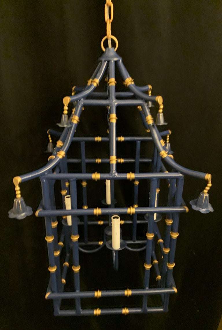 Wonderful Large Navy Blue Gold Gilt Pagoda Bamboo Chinoiserie Lantern Fixtures In Good Condition In Roslyn, NY