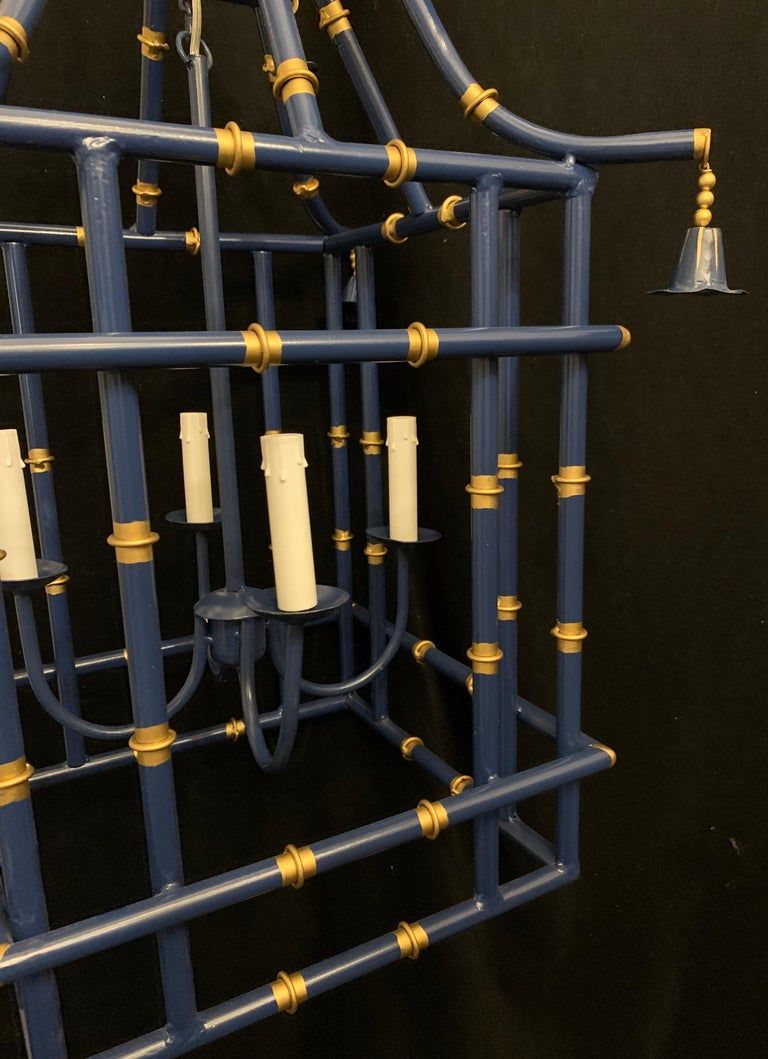 20th Century Wonderful Large Navy Blue Gold Gilt Pagoda Bamboo Chinoiserie Lantern Fixtures