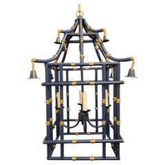 Wonderful Large Navy Blue Gold Gilt Pagoda Bamboo Chinoiserie Lantern Fixtures