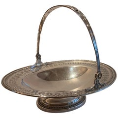 Wonderful Large Oval Sterling Silver Regency Basket Bowl Centerpiece with Handle