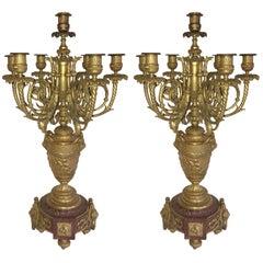 Wonderful Large Pair 19th Century Louis XVI Ormolu Rouge Marble Candelabra Lamps
