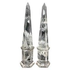 Wonderful Large Pair of Octagonal Cut Natural Rock Crystal Obelisks Fine Spike