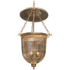 Wonderful Large Pair Vintage Vaughn Star Globe Bell Jar Lantern Fixtures Bronze