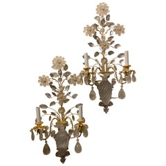Wonderful Large Set Four French Gold Gilt Rock Crystal Flower Urn Baguès Sconces