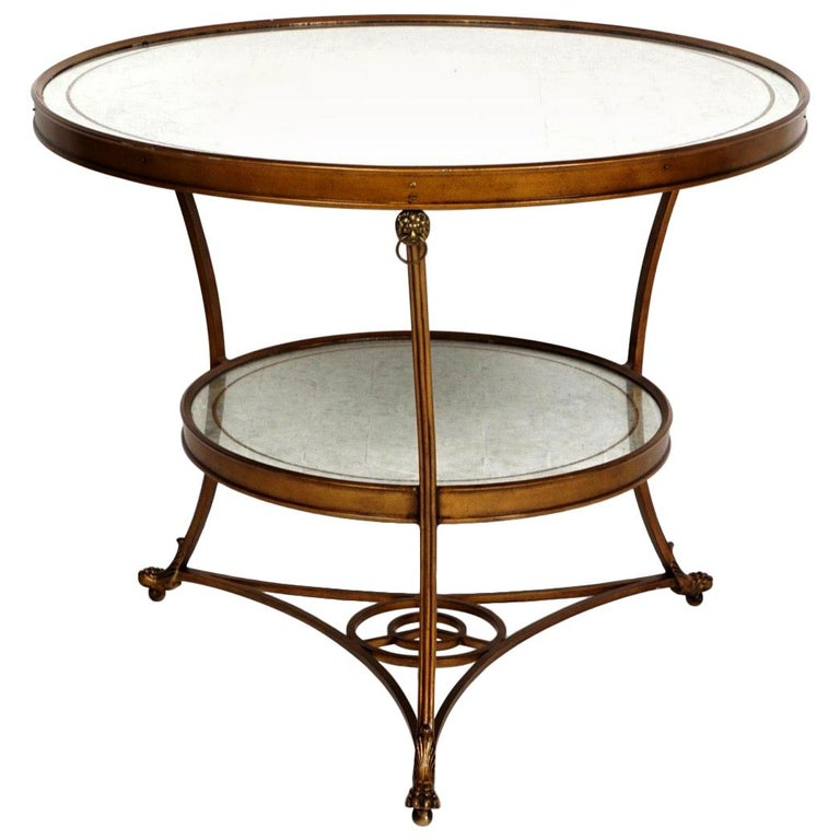 Wonderful Large Transitional Pair of Two-Tier Mirrored Top Guéridon Gilt Tables For Sale