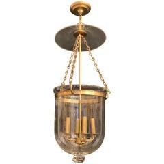 Wonderful Large Vaughan Designs Regency Bronze Glass Bell Jar Lantern Fixture