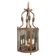 Wonderful Large Vaughan Gilt Bronze 6-Light Regency Curved Beveled Glass Lantern