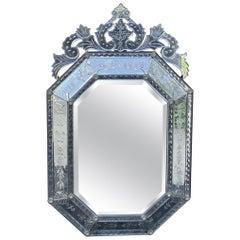 Wonderful Large Venetian Italian Etched Oxidized Distressed Mirror