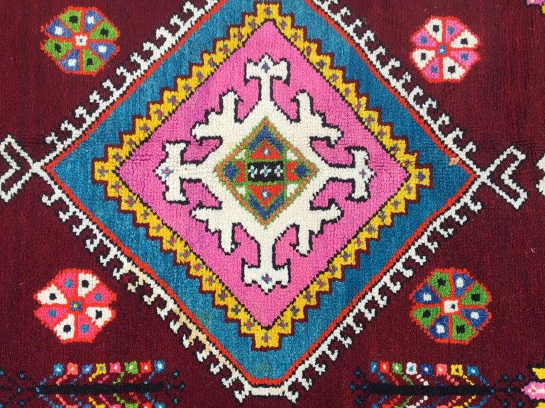 Rustic Wonderful Long Vintage Moroccan Rabat Rug For Sale