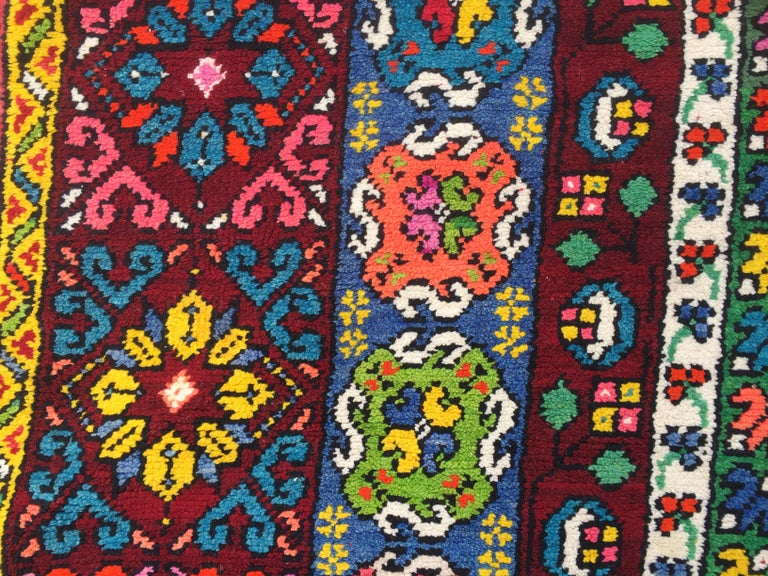 Hand-Knotted Wonderful Long Vintage Moroccan Rabat Rug For Sale