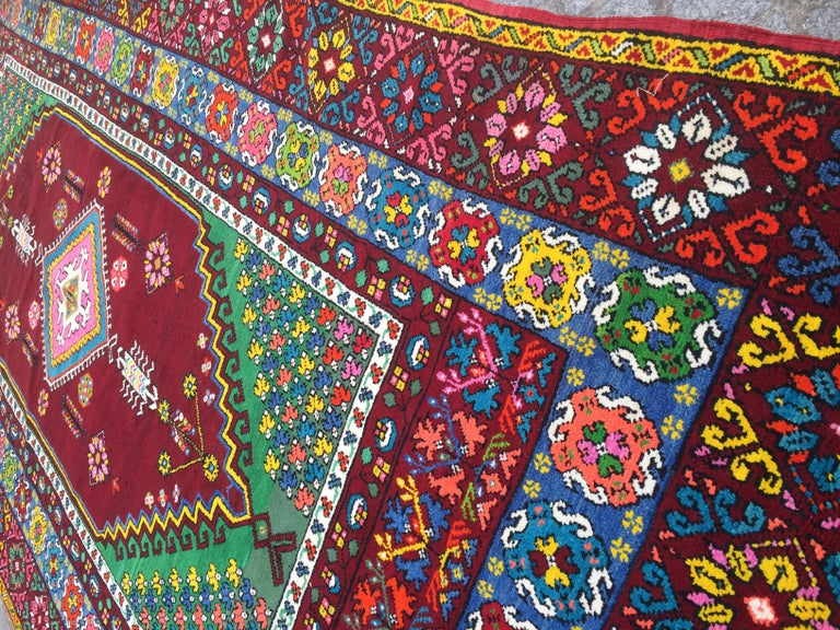 Wonderful Long Vintage Moroccan Rabat Rug In Good Condition For Sale In Saint Ouen, FR