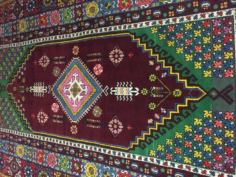 Wool Wonderful Long Vintage Moroccan Rabat Rug For Sale
