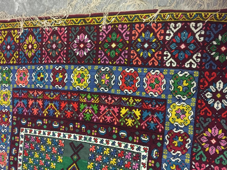 Wonderful Long Vintage Moroccan Rabat Rug For Sale 1