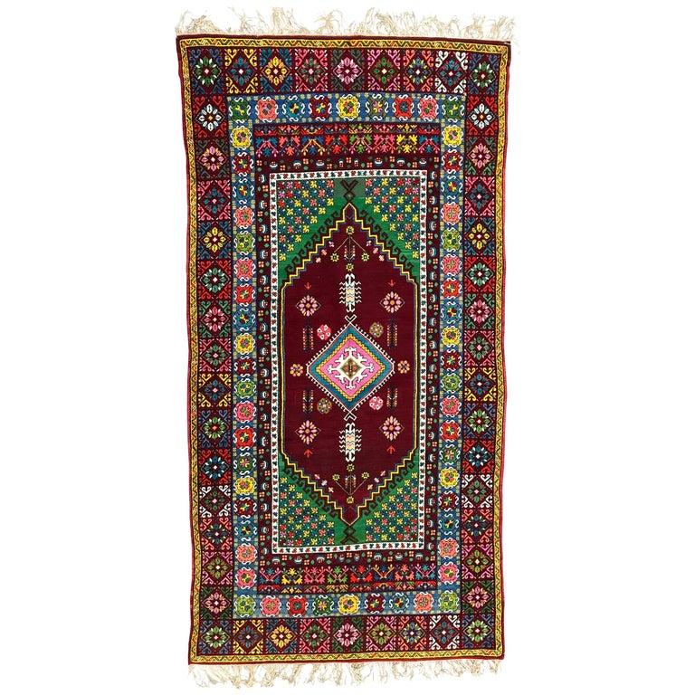 Wonderful Long Vintage Moroccan Rabat Rug For Sale