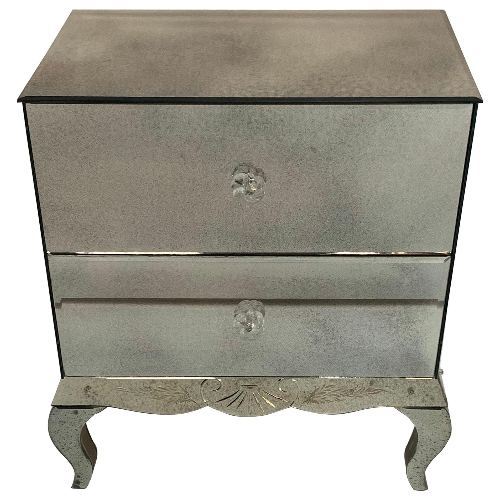 Wonderful Lorin Marsh Etched Two-Drawer Mirrored Chest with Flower Rosette Pulls