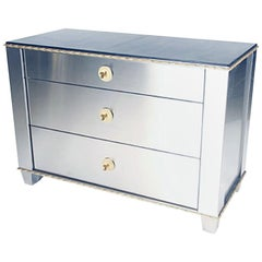Wonderful Lorin Marsh Jansen Stainless Steel Leather Top Bronze Chest Cabinet