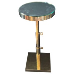 Wonderful Lorin Marsh Polished Bronze Round Mirrored Top Telescoping Side Table