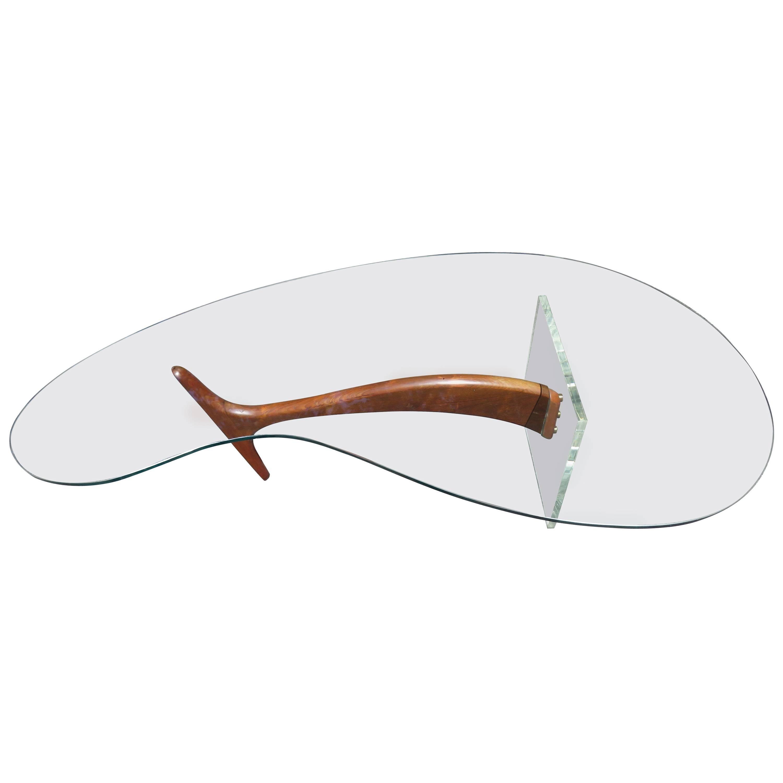 Wonderful Lucite Sculptural Walnut Coffee Table Midcentury